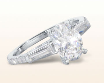 oval three stone engagement rings tapered baguette