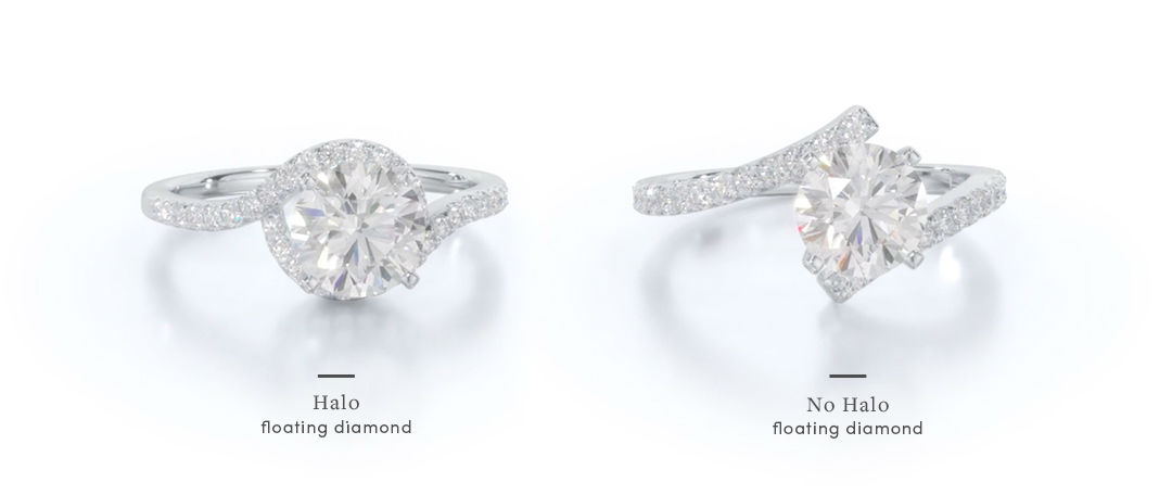 floating diamond engagement rings halo vs solitaire comparison