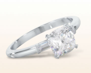 cushion cut three stone engagement rings baguette diamond