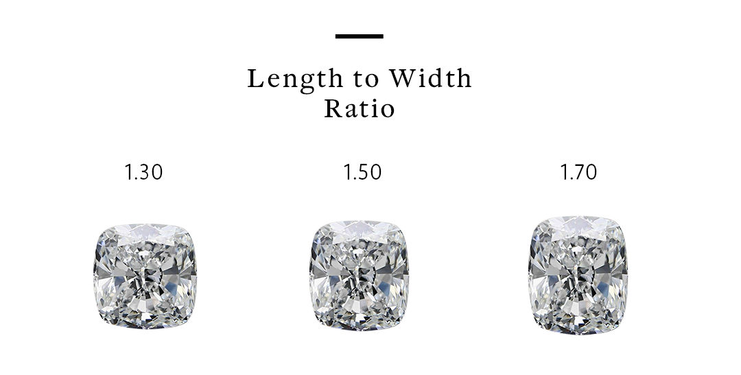 different diamond ratios for cushion cut three stone engagement rings