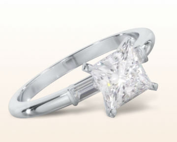 princess cut three stone engagement rings baguette diamond