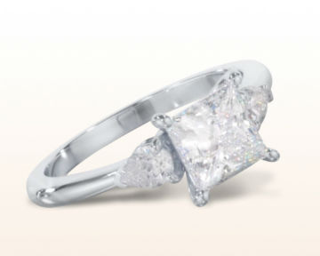 princess cut three stone engagement rings pear diamond