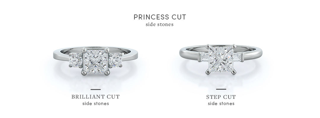 princess cut three stone engagement rings with side stone options