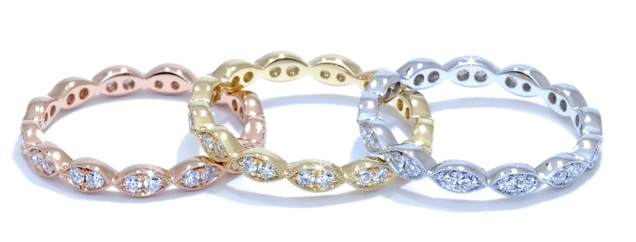 white, yellow and rose gold diamond and metal bands
