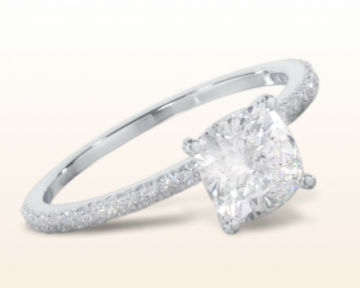 micropave and pave engagement rings French Cut