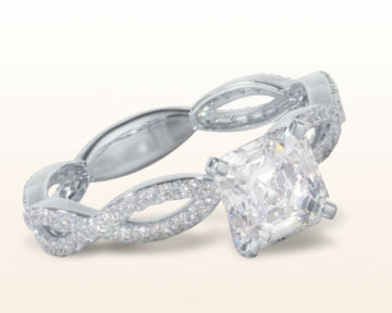 micropave and pave engagement rings Infinity Winding Diamond