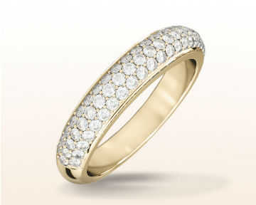 micropave and pave engagement rings Three Row Diamond Wedding Band