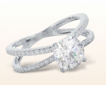 micropave and pave engagement rings Split Shank