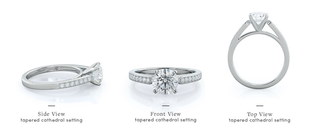 cathedral engagement rings views from all angles