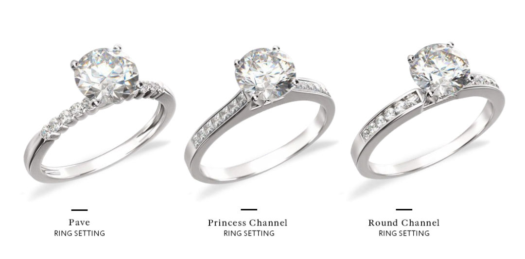 channel set engagement ring pave comparison