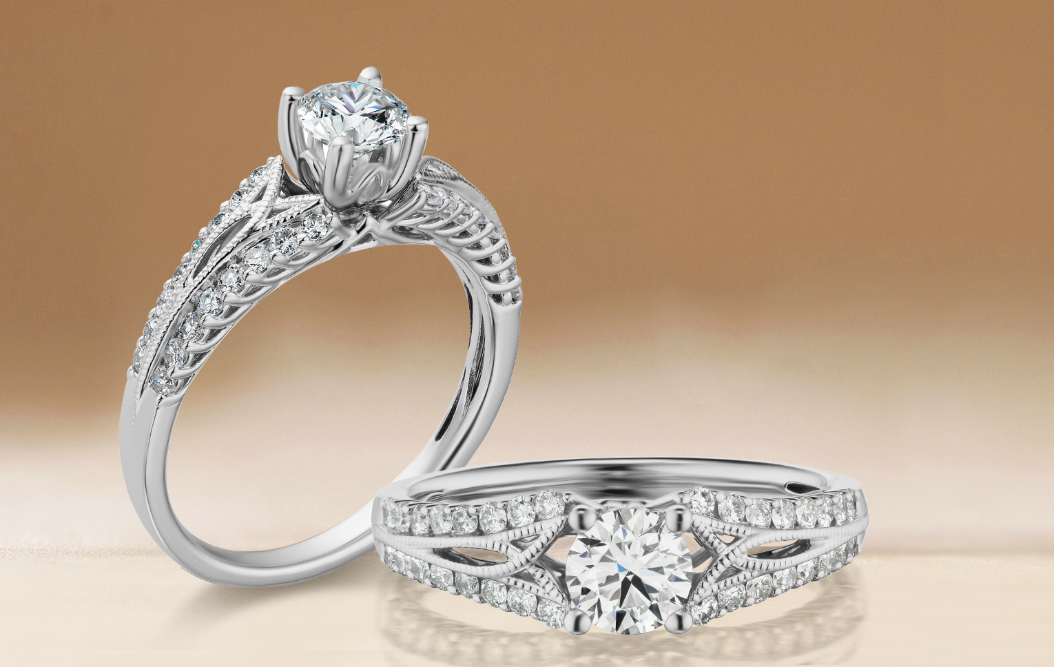 Divina preset engagement ring in white gold