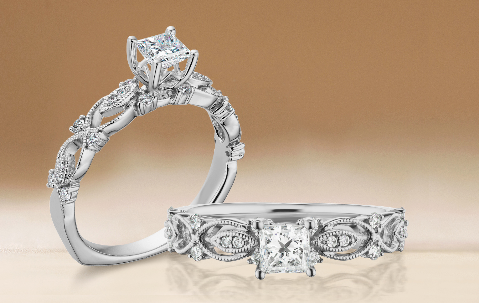 Adventum preset engagement ring in white gold