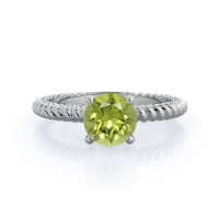 Braided Solitaire Peridot Ring; 14kt white gold; .5 carat