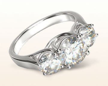 high set engagement rings Three Stone Trellis