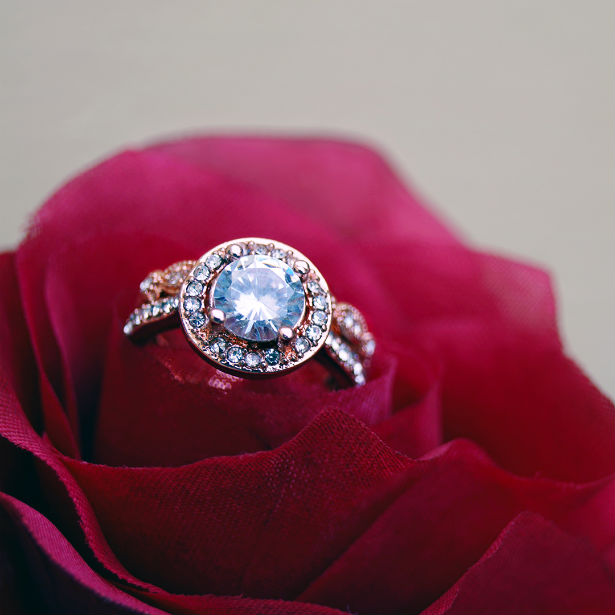 benefit of halo engagement ring in rose