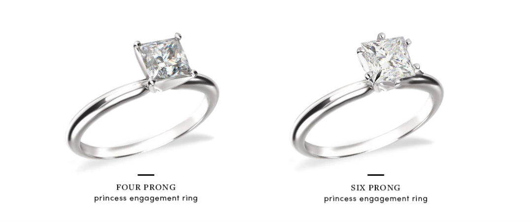 4 prong vs 6 prong princess cut diamond comparing