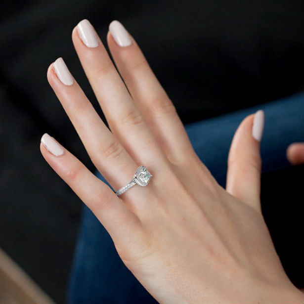 floating halo woman wearing ring