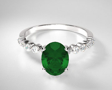 Oval Emerald Under Bezeled Accent Ring