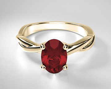 Oval Ruby Twisting Solitaire Ring