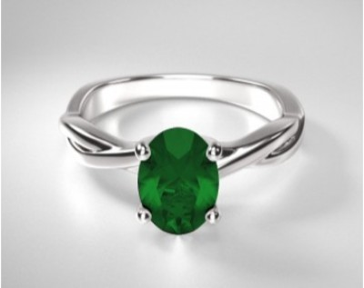 Oval Emerald Twisting Solitaire Ring