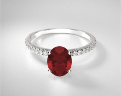 Oval Ruby French Cut Pave Ring