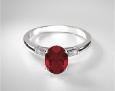Oval Ruby Three Stone Baguette Ring