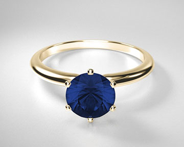 Round Sapphire Classic Six Prong Solitaire Ring