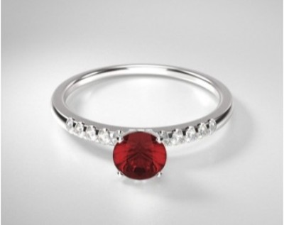 Round Ruby Traditional Pave Ring