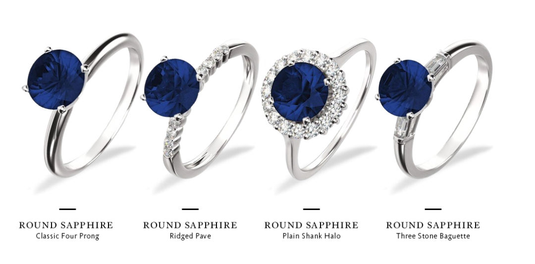 sapphire and diamond engagement rings setting styles