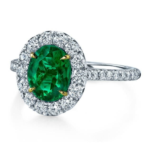 diamond and emerald halo engagement ring most popular style