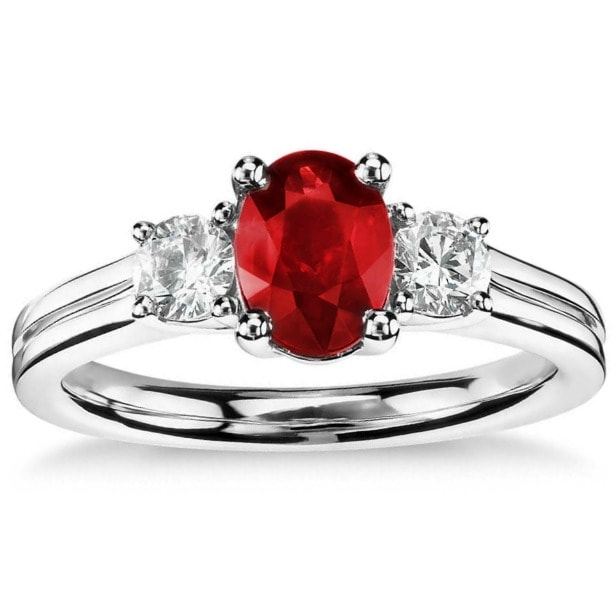 diamond and ruby halo engagement ring most popular style