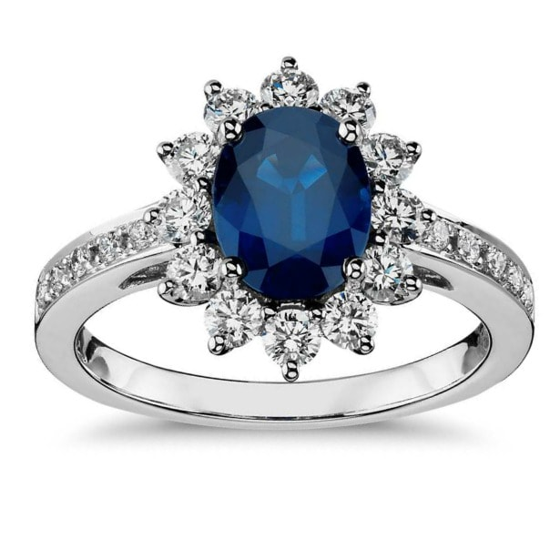 diamond and sapphire halo engagement ring most popular style