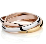 three colored metal rings