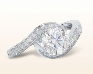 engagement rings for chefs Twisting Underhalo Diamond