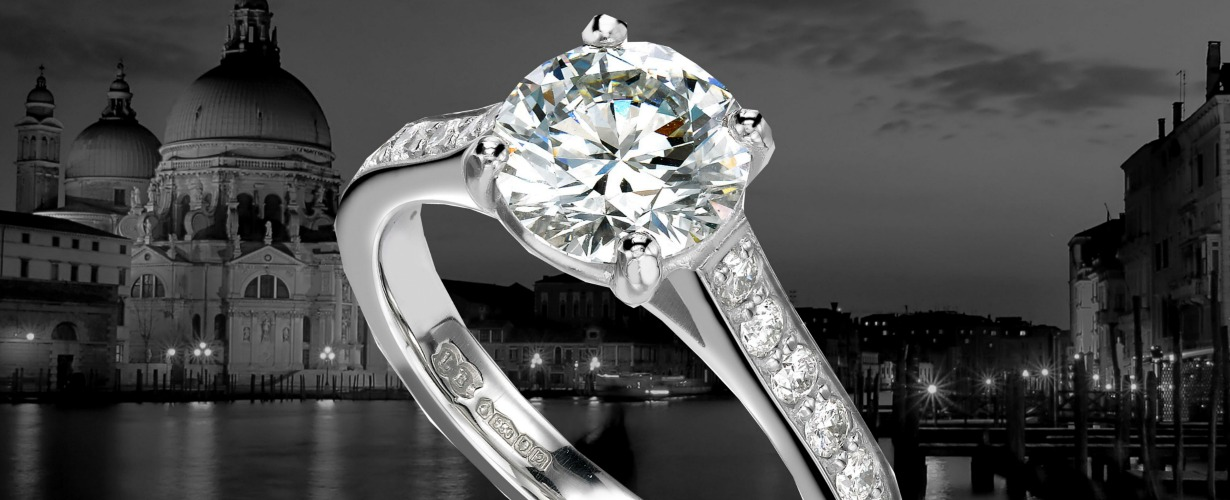 diamond engagement ring in historic scenery