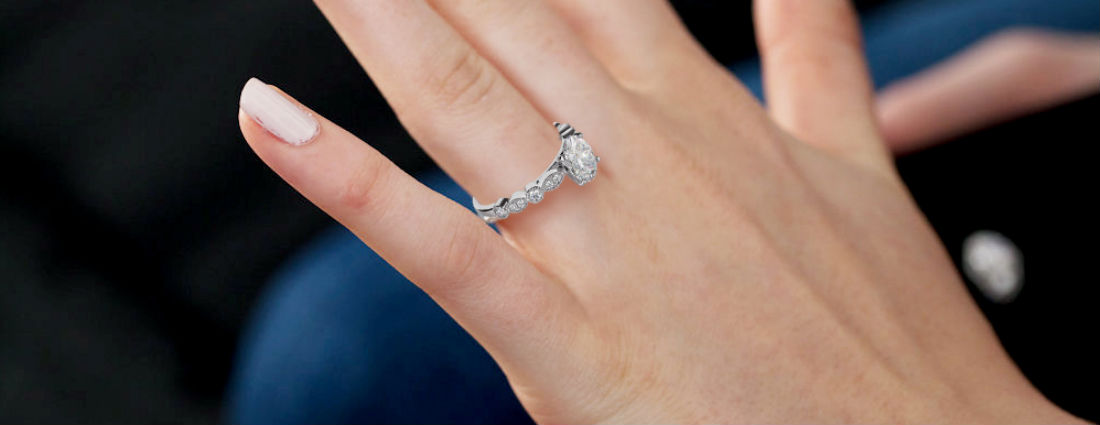 Sterling Silver Vintage Inspired Engagement Ring Diamond Simulants Art Deco Engagment Ring Promise Ring Flower Ring Wedding Ring