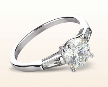 baguette diamond engagement ring elegance three