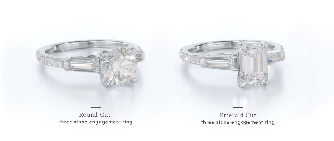 baguette diamond engagement ring setting comparisons
