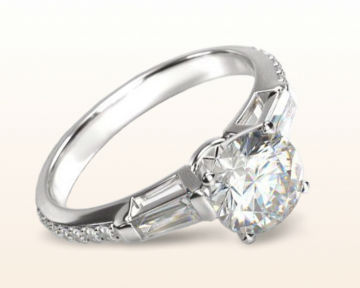 baguette diamond engagement ring three stone tapered