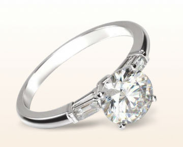 baguette diamond engagement ring three stone