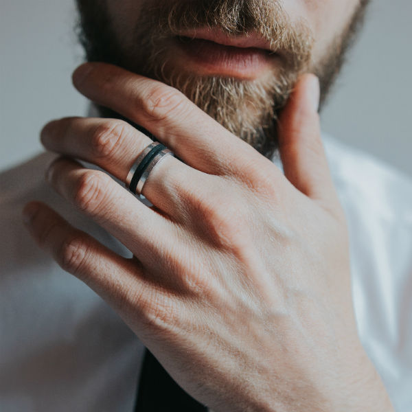 do guys wear engagement rings bearded man wearing band