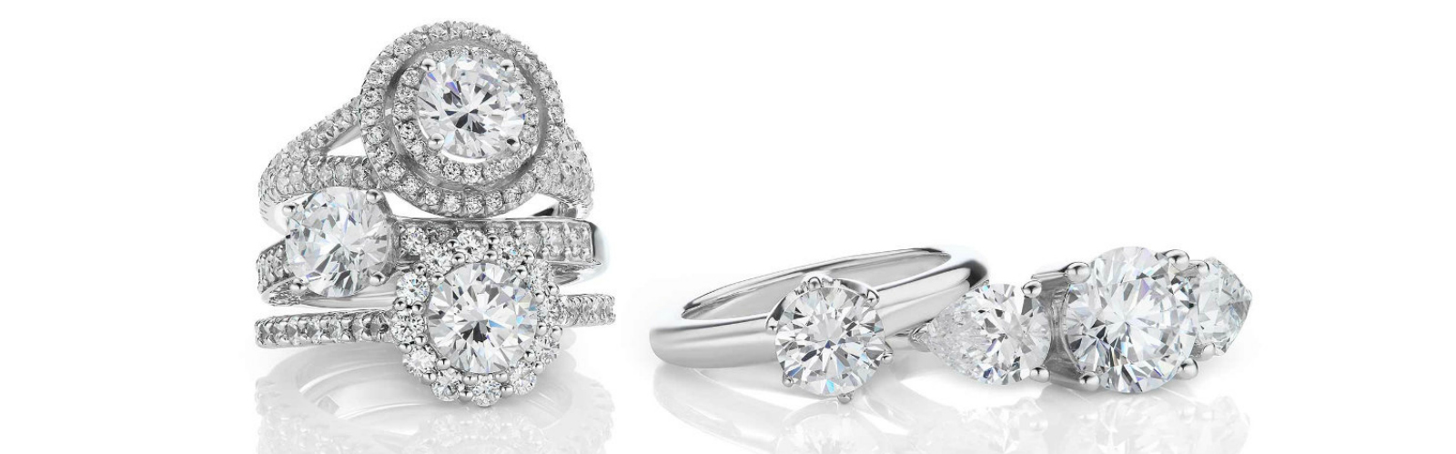 engagement rings sparkling in light showing the quality from buying guide