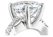 zoomed in engagement ring showing prong set diamond head
