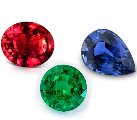ruby, emerald and sapphire gemstones loose showing high natural AAA quality