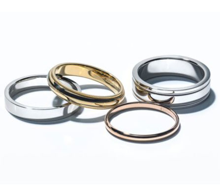metal bands in 14kt white gold, yellow gold, platinum and rose gold