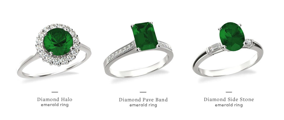 emerald and diamond engagement rings different styles