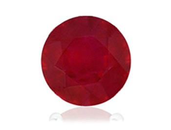AA quality round ruby with noticeable inclusions making it dark red