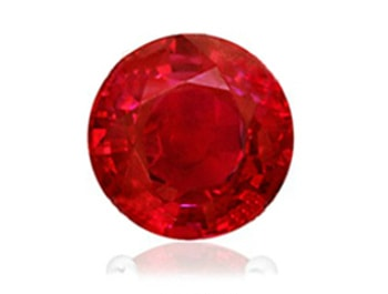 AA quality round ruby with minor clarity inclusions making it deep red