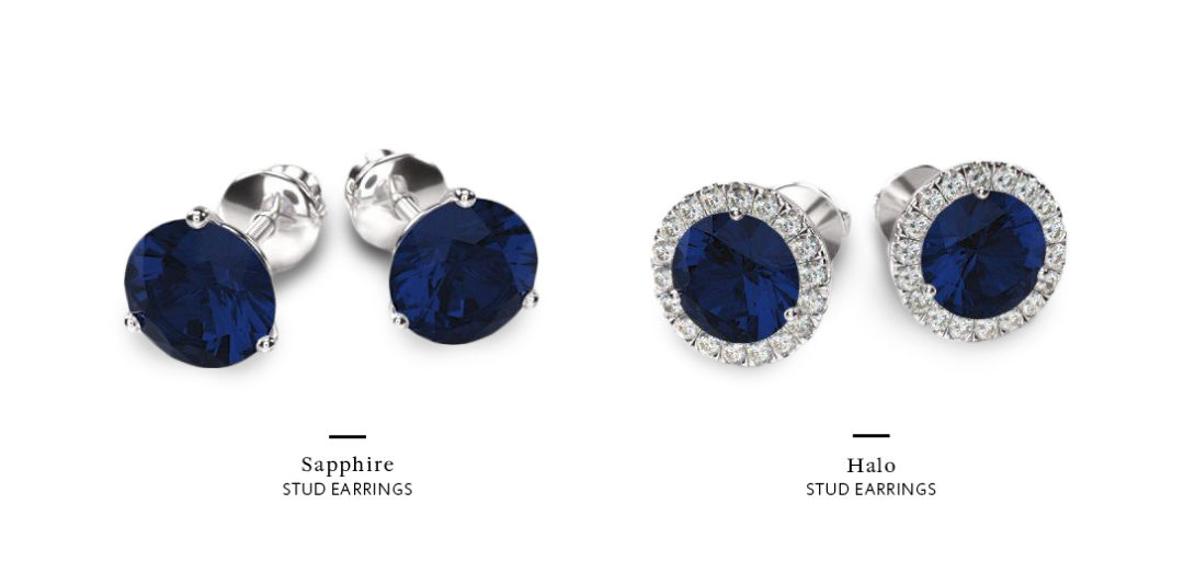 sapphire earrings by style halo versus no halo