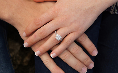 Moissanite Halo Ring on Hand